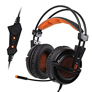 Black Sades A6 7.1 Surround Stereo USB Pc Gaming Headset Headband Headphone with High Sensitivity Mic Breathing Lights