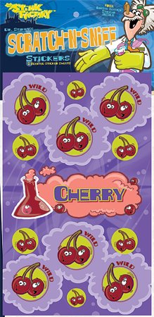 Dr Stinky's Cherry Scratch-and-Sniff Stickers, 2 sheets 4 x 6 3/4, 26 stickers