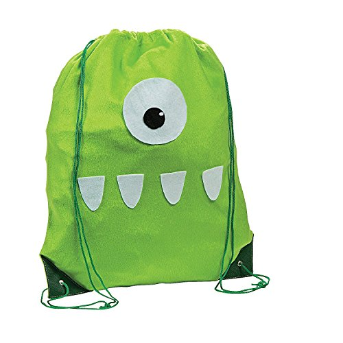 Fuzzy Monster Drawstring Backpack - 1
