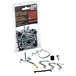 Click to buy Garage Pegboard: LeHigh Crawford 32-Piece Locking Peg Hook Assortment #1832A from Amazon!