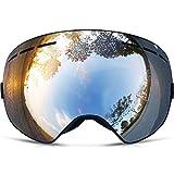 ZIONOR 12色 スノーモービル/スノーボード/スケート/スキー/ゴーグル ユニセックス 多色 UVカット アンチフォグ 球面レンズ ZR13 (シルバー)