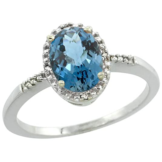 Revoni Sterling Silver London Blue Topaz And Diamond Ring, Oval Stone (8X6 mm)