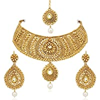 MEENAZ Gold Plated Choker necklace with drop earring & Mangtika for Women/girls