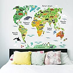 EMIRACLEZE Christmas Gift Holiday Shopping Christmas New Design Animals World Colorful Map Removable Mural Wall Stickers Wall Decal for Kids Living Room Home Wall Decor