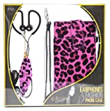 iHip Snooki Couture Fashion Combo Pack with Feather Earphones and Feather Universal Phone Case - Retail Packaging - Pink