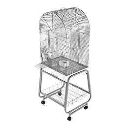 A&E Open Dome Top Cage With Removable Tray White 22inx17inx58in
