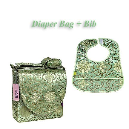 I Frogee Brocade Diaper Bag & Bib Set In Bean Green Fortune Flower Print