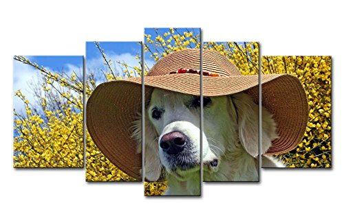 5 Piece Wall Art Painting Golden Retriever With A Summer Hat Pictures Prints On Canvas Animal The Picture Decor Oil For Home Modern Decoration Print For Girls Bedroom