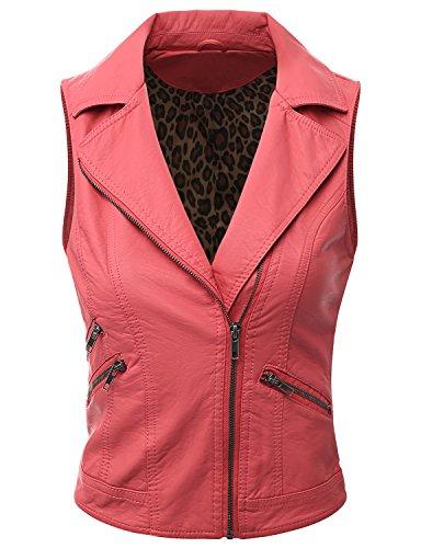 Doublju Women Unique Regular Fit Zip-Up Style Faux Leather Vest ROSE,L