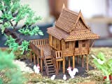 "4x5x5"" Traditional Cultural Teak Wooden Thai House Model Kit Boxed Woodcraft New Very Rare Made in Thailand"