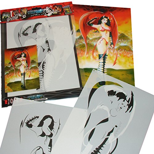 Schneidmeister Airbrush Schablone DEVIL CHICK HEELS AND WINGS Stencil, ca. A4, SM-HBDC01