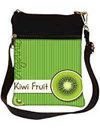 Snoogg Bright Organic Kiwi Fruit Card In Vector Format Cross Body Tote Bag / Shoulder Sling Carry Bag