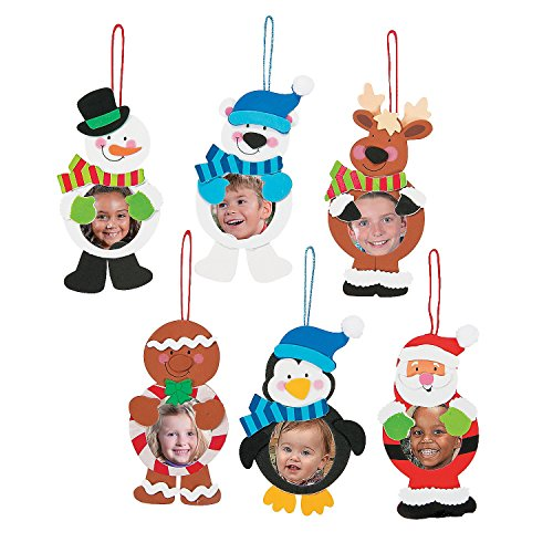 12 ~ Christmas Character Photo Frame Ornament Craft Kits ~ Foam Stickers ~ Approx. 6 1/2