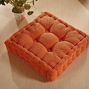 Mochohome soft corduroy chair seat cushion pad 16 x 16 orange home kitchen - Orange kitchen chair cushions ...