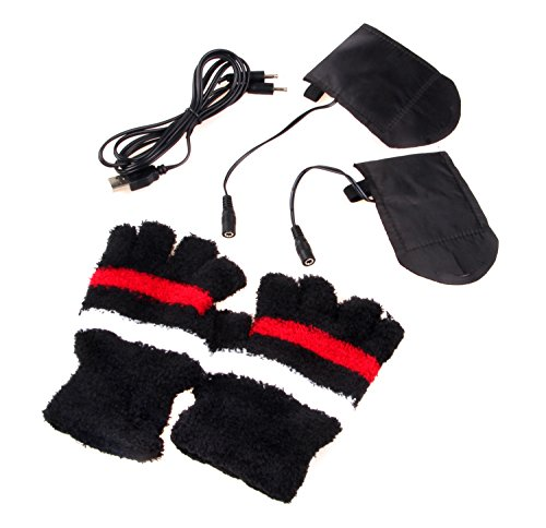 Natuworld Laptop Gloves Woolen Fingerless Gloves USB 2.0 Heated Half Winter Feel affection for Hand Warmer Gloves Mitten Computer Electric Heat Gloves