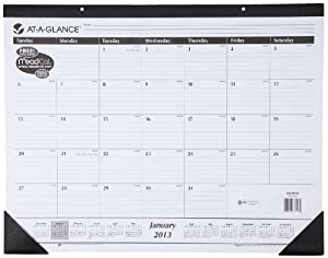 AT-A-GLANCE Recycled Desk Pad, 22 x 17 Inches, White, 2014 (SK24-00)