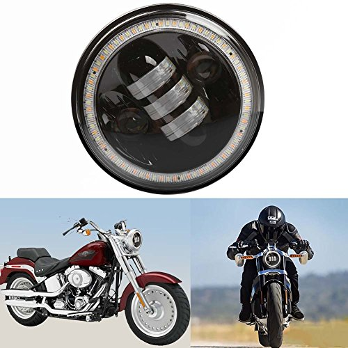 5.75inch 50W 5000LM 3000LM High Low Beam with Halo Angel Eye CREE LED Headlight for Harley Davidson Motorcycle 1Pc (50WA) (Dyna Headlight Relocation Bracket compare prices)
