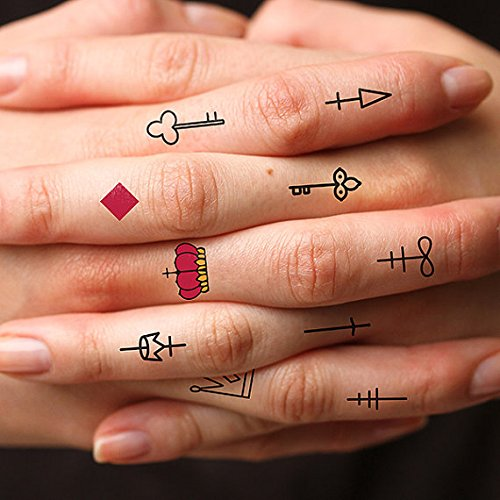 Tattify play card suit temporary finger tattoos get for Temporary finger tattoos