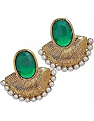The Jewelbox Designer Gold Plated Green Stone Pearl Earring For Women