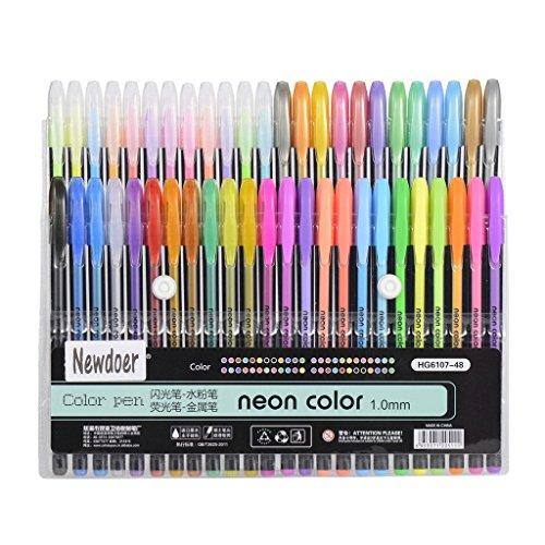 newdoer-48-packs-color-gel-ink-pensthe-best-gel-pens-set-for-adult-colouring-booksdrawand-writewith-