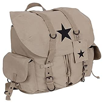 Rothco Vintage Black Star Canvas Backpack, Khaki