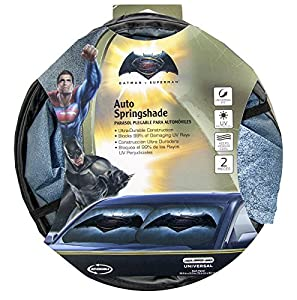Plasticolor 003739R01 Batman vs. Superman Warner Brothers 2-Piece Magic Spring Window Sunshade at Gotham City Store