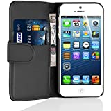 iPhone 5 Case - Leather Wallet Flip Cover for iPhone 5 and 5S, Black