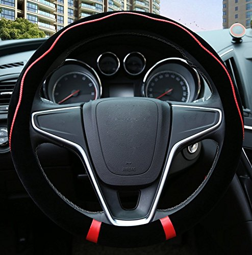 Black and Red Color Cool Sport Style Car Fur Steering Wheel Covers For Steering Wheels 14-15