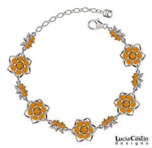 Fabulous Bracelet Designed by Lucia Costin with Twisted Lines and Yellow Swarovski Crystals and Leaf Elements, Accented with Cute Middle Flowers; .925 Sterling Silver; Handmade in USA