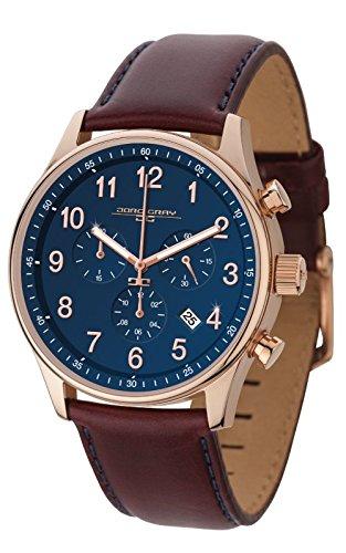 Jorg Gray-Orologio da uomo al quarzo con Display con cronografo e cinturino in pelle, colore: marrone, JG 5500-21