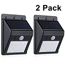 Adoric(TM) 2Pack Solar Lights with 8 LEDs Wireless Security Light Outdoor Motion Sensor Activated Lighting for Garage, Driveway - Waterproof, No Battery Required