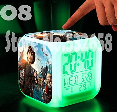 How to Train Your Dragon Alarm Clock Digital Action Toy Figures Thermometer Night Colorful Glowing Toys (Style 8)