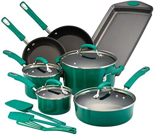 Rachael Ray Hard Porcelain Enamel Nonstick Cookware Set, 14-Piece, Fennel Gradient (Cookware Set Green Gradient compare prices)
