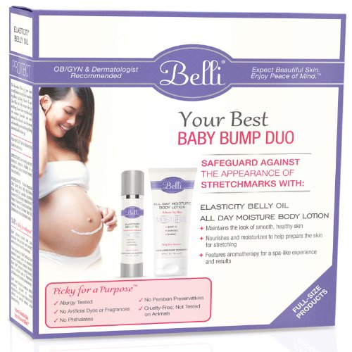 Belli Skin Care – Your Best Baby Bump Duo – Elasticity Belly Oil 3.8 oz & All Day Moisture Body Lotion 6.5 oz.
