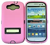 LiViTech(TM) Double Layer Hard Case with Kickstand for Samsung Galaxy S3 SIII i9300, I747, L710, T999, R530, I535 (Pink Black)