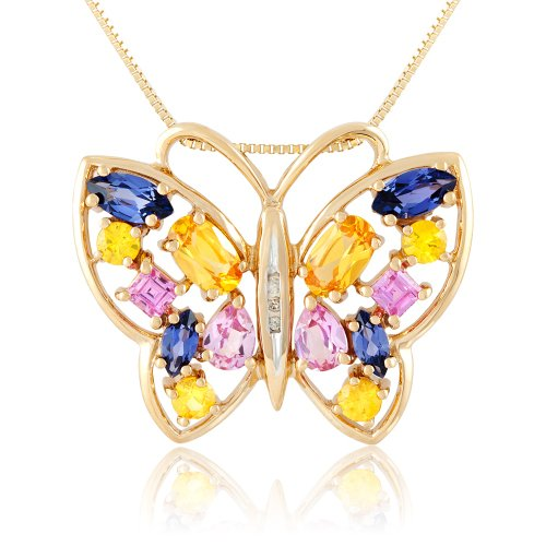 Sterling Silver with Yellow Gold Plating Multi-Colored Created Sapphire and Diamond Butterfly Pendant Necklace, 18