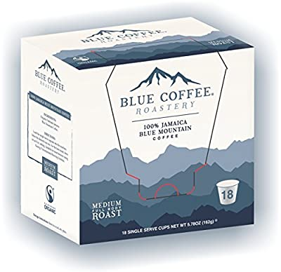 Blue Roastery FairTrade Organic 100% Board Certified Genuine Jamaica Blue Mountain® Coffee K-Cups for Keurig Brewers (18-count)