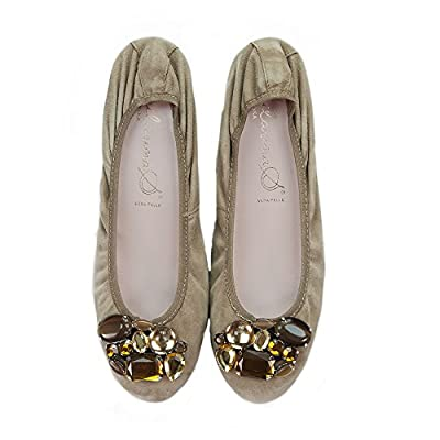 Bailarinas ELTON AAT Kangoroo Taupe Crystal Embellished Bendy Ballerina Shoes