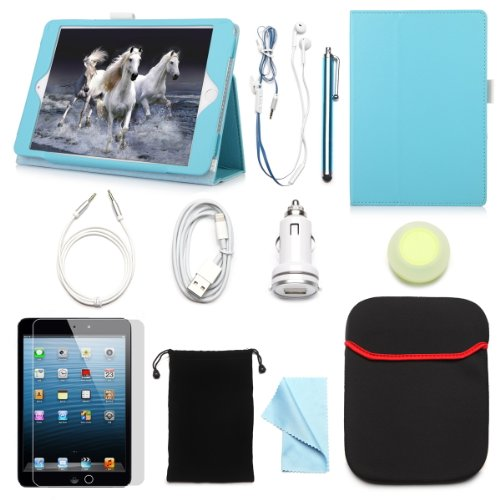 "Arion Ipad Mini 7.9"" 11-Item Accessory Bundle Kit For Apple Ipad Mini - Folio Stand Pu Leather Case, Screen Protector, Cleaning Cloth, Stylus Pen,Car Charger,Usb Sync Cable, Aux Cable, Earphone, Wire-Holding Box, Sleeve Case, Drawstring Travel Pouch (Ligh"