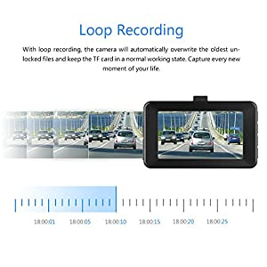 Dash Cam, Crosstour 1080P Car DVR Dashboard Camera Full HD with 3 LCD Screen 170°Wide Angle, WDR, G-Sensor, Loop Recording and Motion Detection.
