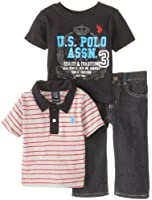 U.S. Polo Assn. Baby Boys' 3 Piece Stripe Polo Graphic T Shirt and Jeans Set