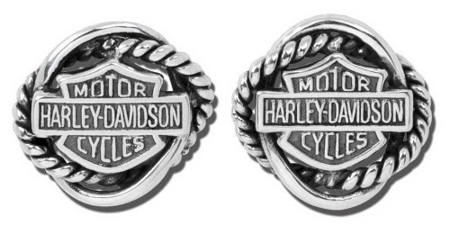 Harley-Davidson Women's Woven Circle Bar & Shield Post Earrings HDE0308