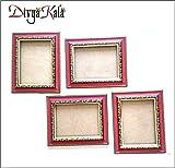 DivyaKala Photo Frame-(Wooden,4pc set) Red