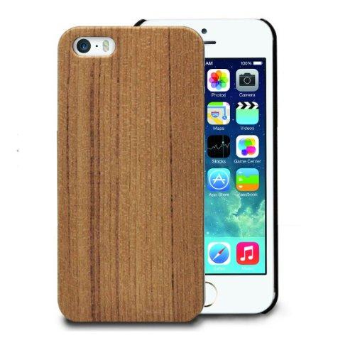 Alienwork Schutzhülle für iPhone 5;iPhone 5S Stoßfest Hülle Case Bumper Holz gelb AP543-01