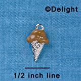 C3822 tlf - 2-D Chocolate Ice Cream Cone - Silver Plated Charm