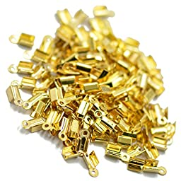 100pcs Gold Plated Folding Crimps Cord Thong End Connectors 10mm