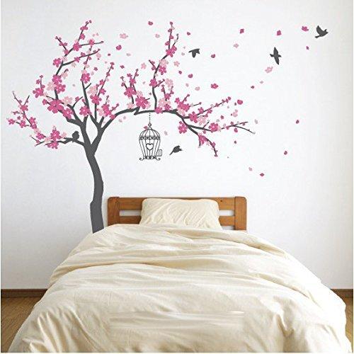 japanese-cherry-blossom-birdhouse-and-tree-large-wall-decal-sticker-diy-nursery-room-decor-art-shade