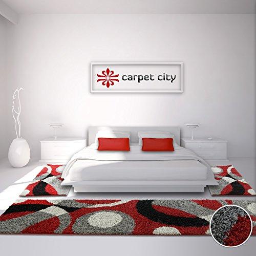 tappeti-a-pelo-lungo-shaggy-grigio-rosso-nero-motivo-a-cerchi-oko-tex-bordatura-letto-2-pz-da-80-x-1