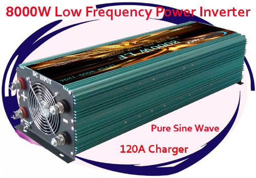 8000 Watt Continual 24000 Watt Surge Low Frequency Pure Sine Wave Power Inverter Converter Transformer 48 V Dc Input / 110 V-120 V Ac Output 60 Hz Frequency With 120A Battery Charger Power Tools