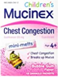 Mucinex Children's Chest Congestion Expectorant Mini-Melts, Bubblegum, 12 Count
